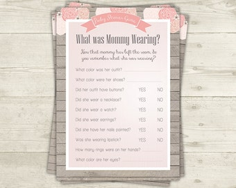 What is mommy wearing Game Printable Baby Shower Games, Shabby Baby Shower, Girl Baby Shower, Unique Baby Shower Games