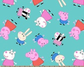 """Nick Jr. Peppa Pig & Friends 100% cotton 44"""" wide fabric by the yard,e25"""