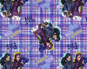 """Disney Fabric - The Descendants Fabric - The Descendants Have a Nice-ish Day 100% cotton 43"""" Fabric by the yard ***SC210***"""