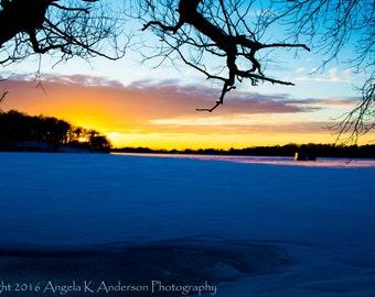 Winter sunset in Markesan