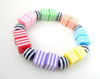 Funky Beaded Bracelet - Funky coloured stripes. Handmade.