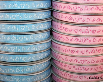 Heart Pattern Blue and Pink Grosgrain Ribbon - 25m reels (Ships from the UK)