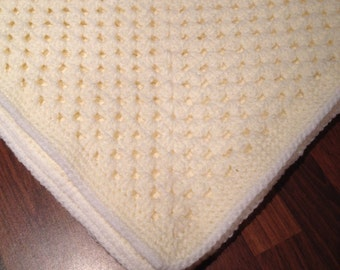 Baby Crochet Blanket in Cream