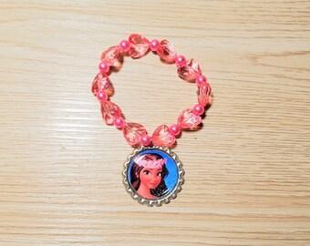 10 - Pink Bracelets Party Favors. Moana, Aurora, Ariel, Mulan