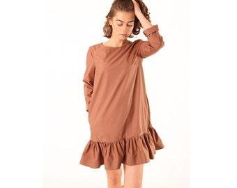 Soft brown dress - brown cotton dress - mini dress - women summer dresses - cotton dress - long sleeves dress - short dress