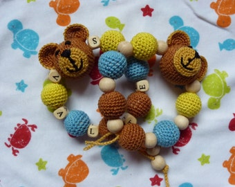 Crochet Personilized  Bead Bear teething rings / Natural 100% catton / Baby first toy / Cotton yarn toy