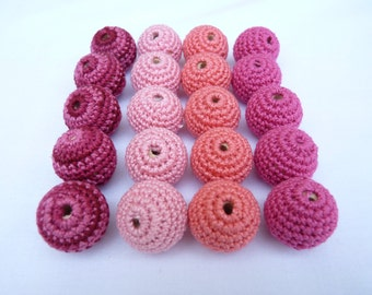 Pink Crochet beads 20 PC/ Crochet wooden beads/ Teething beads/ jewelry supplies/ nursing necklace/ Mix pink beads/