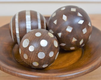 Wooden Plate - Home Decor, Wooden plate with three wooden balls, all inlaid with mother of pearl