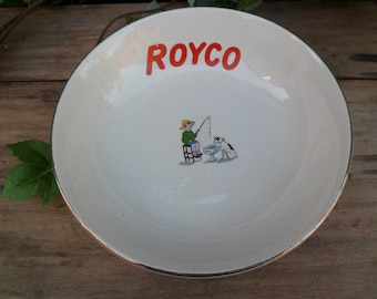 Old soup Royco, real plate opaque, Digoin Sarreguemines, France, vintage, advertising product