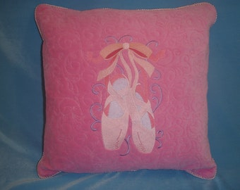 Embroidered Ballet Shoes Pillow