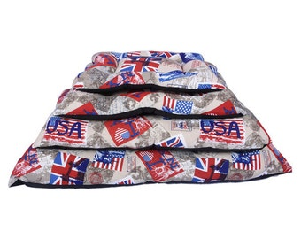 Bed stamping flag USA and United Kingdom