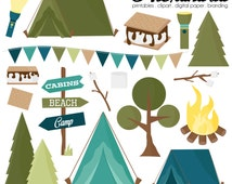 Happy Camper Digital Clipart - Personal & Commercial Use - Camping Clipart, Camp Graphics, Summer Images