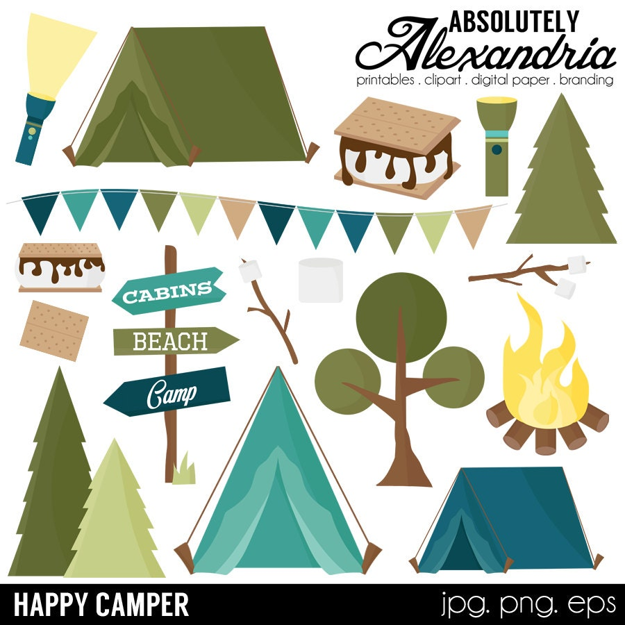 Happy Camper Digital Clipart - Personal & Commercial Use ...