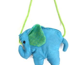 Girls Elephant Purse - Blue