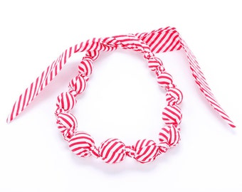 Girls Beaded Cloth Necklace - Stripe - Red