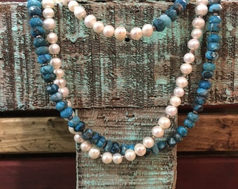 Lacy Agate and Freshwater Pearl Necklace