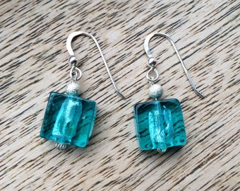 Sterling Silver and Blue Glass Fire Polished Bead Earrings
