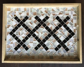 Geometric shimmer mosaic serving tray