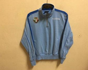 Vintage 90's Diadora Italia Blue Classic Design Skate Sweat Shirt Sweater Varsity Jacket Size M #A477