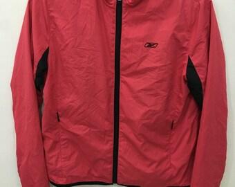 Vintage 90's Reebok Pink Heart Classic Design Skate Sweat Shirt Sweater Varsity Jacket Size S #C14