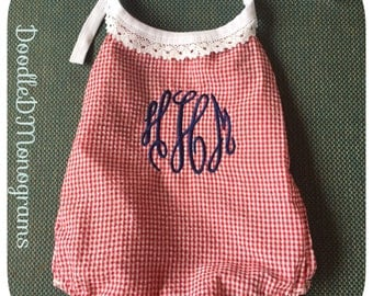 Monogram Gingham Bubble Romper / Bubble Romper /  monogram baby romper