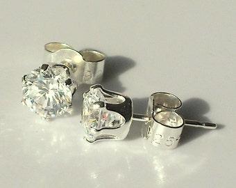 Lab Diamond 925 sterling silver ear studs