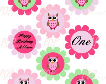 Personalized Owl Birthday Cupcake Toppers, Printable, Digital File