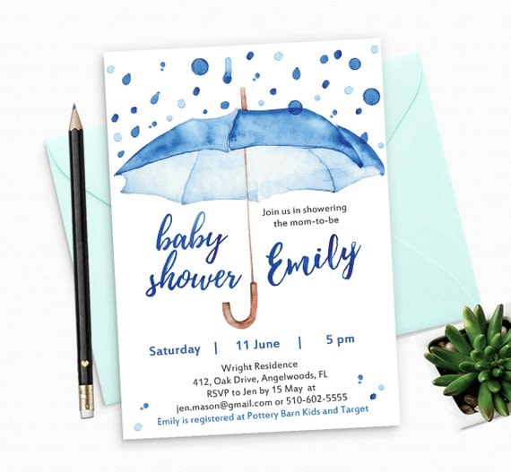 Watercolor Baby Shower Invitation for Boy - Printable Baby Shower Invitation for Boy - Watercolor Blue Umbrella
