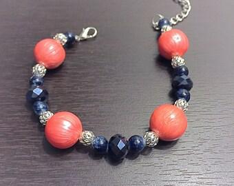 Coral & Navy Bracelet
