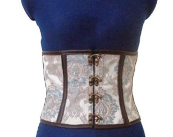 Steampunk Waist Cincher Corset Belt Brocade Coutil Lined Boned