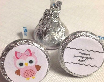 Hershey kiss stickers, owl themed party, baby shower, birthday and more!