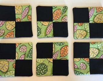 Leaf Fabric Wine Coasters