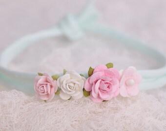 Minty vintage newborn headband, baby girl tieback, photography prop, floral tieback, mint and pink headband, newborn-10 months old tieback
