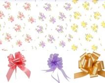 Vintage Posy Floral Design 2m Cellophane & Pull Bow, Gift Wrap, Basket, Hamper, Nappy Cake, Bouquet, Flowers