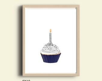 Printable birthday gift, printable birthday sign, instant download modern cupcake print birthday cupcake kitchen wall decor cupcake wall art