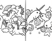 Unicorns and Narwhals | Colouring Page Set for Children | Easy and Fun for Kids | INSTANT DOWNLOAD