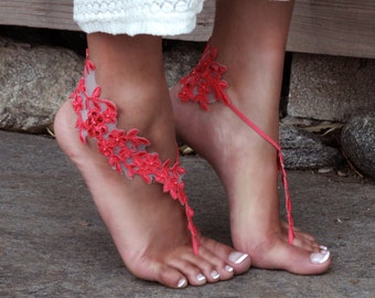 Hot Coral Barefoot Lace Sandals, LAUREN, Tropical Wedding Shoes, Cute Bridal Party Gift, Maid of Honor Present, Boho Chic Photoshoot, Pink