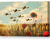 Signed Canvas print of spitfires britain ww2 plane poppy poppies british art photography world war 2 battle victory air flight present gift