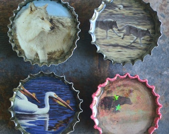 Wildlife Magnets, Recycled Bottlecaps, Fridge Magnets, Animals, Resin Filled, Upcycled Bottlecaps, Ecofriendly Gifting