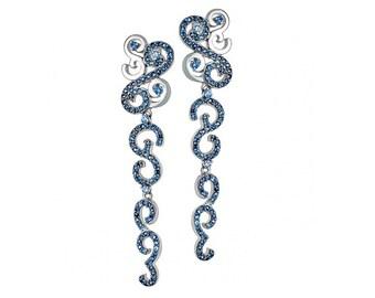 14 Gold Curl stud Earrings, Blue Sapphire gold Earrings