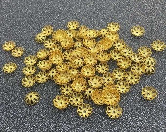 30pcs 7mm Gold Plated Flower BeadsCap, Flower Beads, Jewelry Supplies