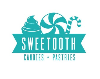 Premade Customizable Logo - High Res and watermark files | Candy & Pastry Shop logo