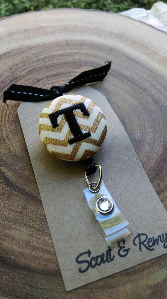 Monogram Badge Reel Gold Chevron Custom