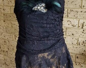 Black Lace Strapless Top, corset top, romantic top  Size 12