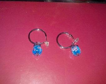 OOAk Beaded Blue Earrings