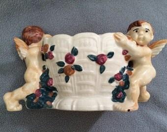 Occupied Japan~Porcelain angels holding bowl