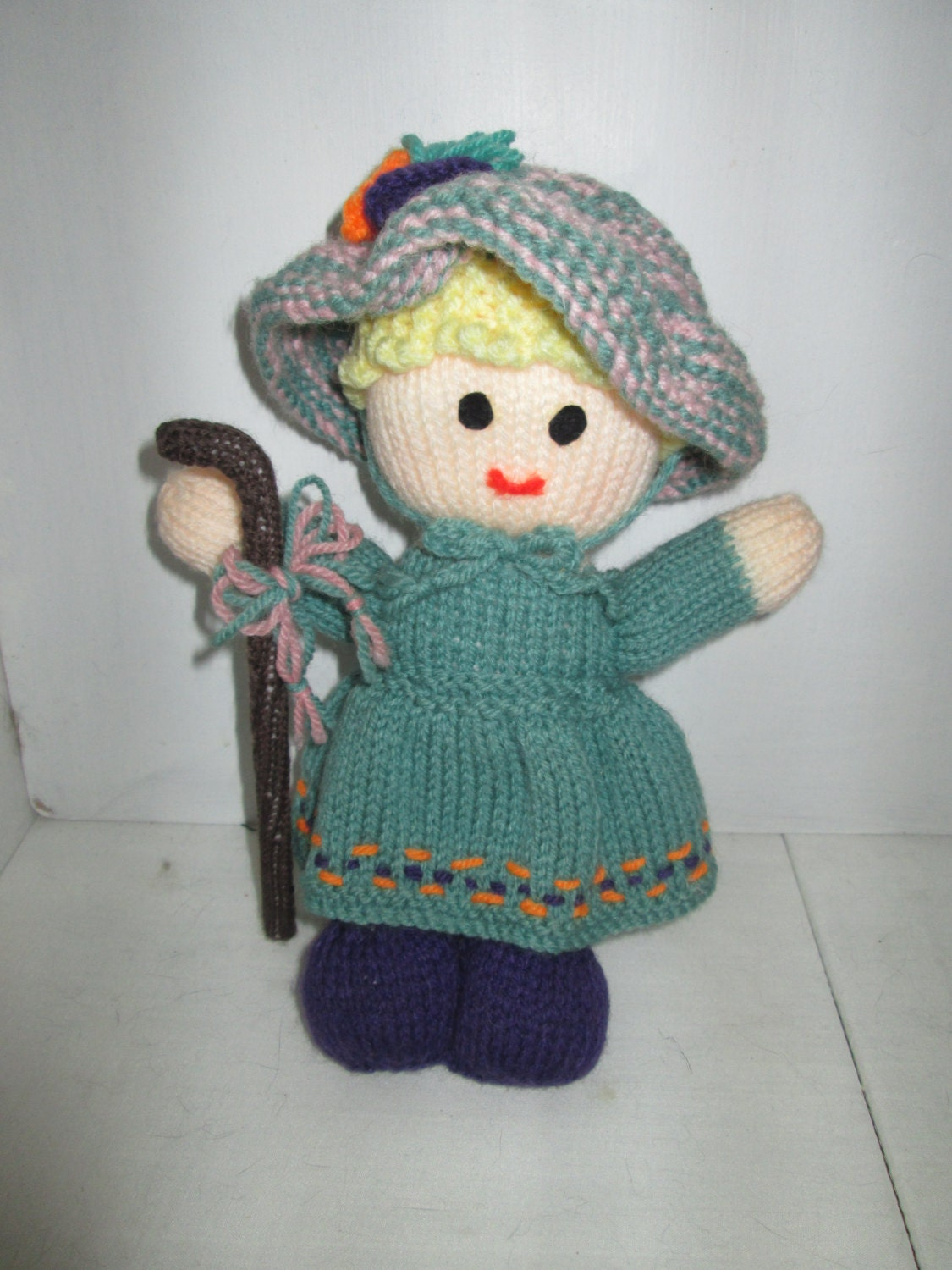 Knitting Pattern Toy Story Characters : Little Bo Peep Hand Knitted Toy Nursery Rhyme Character Sheep