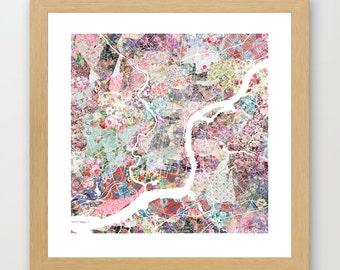 Philadelphia map | Philadelphia Painting | Philadelphia Art Print | Philadelphia Poster | Pennsylvania map | Flowers compositions
