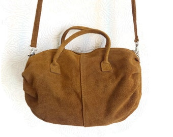 Brown Suede Handbag Shoulder Bag Women's Accessory Natural Bag Brown Real Leather Bag Women's Bag  Suede Crossbody Bag