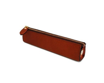 Leather Pencil Case, Leather Pen Case, Leather Pen Holder, Small Size, Brown Color